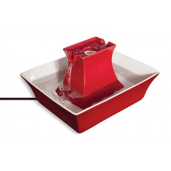 Drinkwell Pagoda Ceramic Pet Fountain - RED